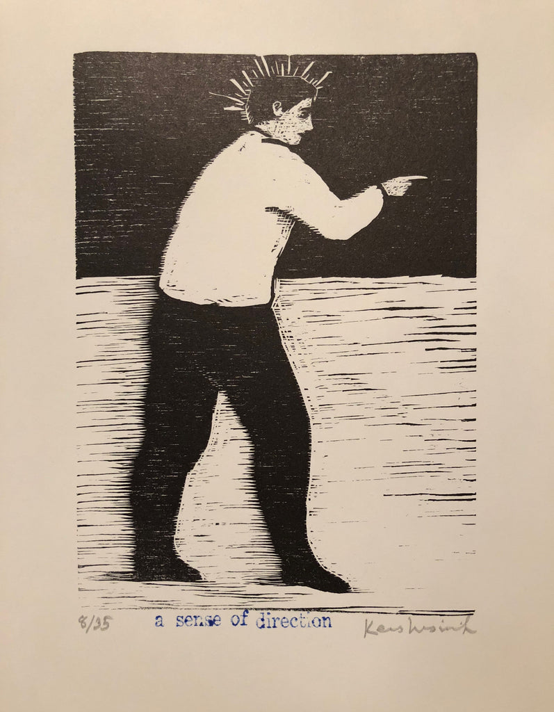 Woodcut of a man with black slacks and white shirt pointing the direction.