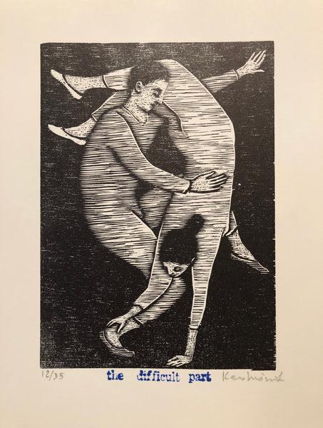 Woodcut with a man and woman doing a difficult acrobatic move with her hands on the ground and feet in the air and he on one leg balancing her. Black and whit.