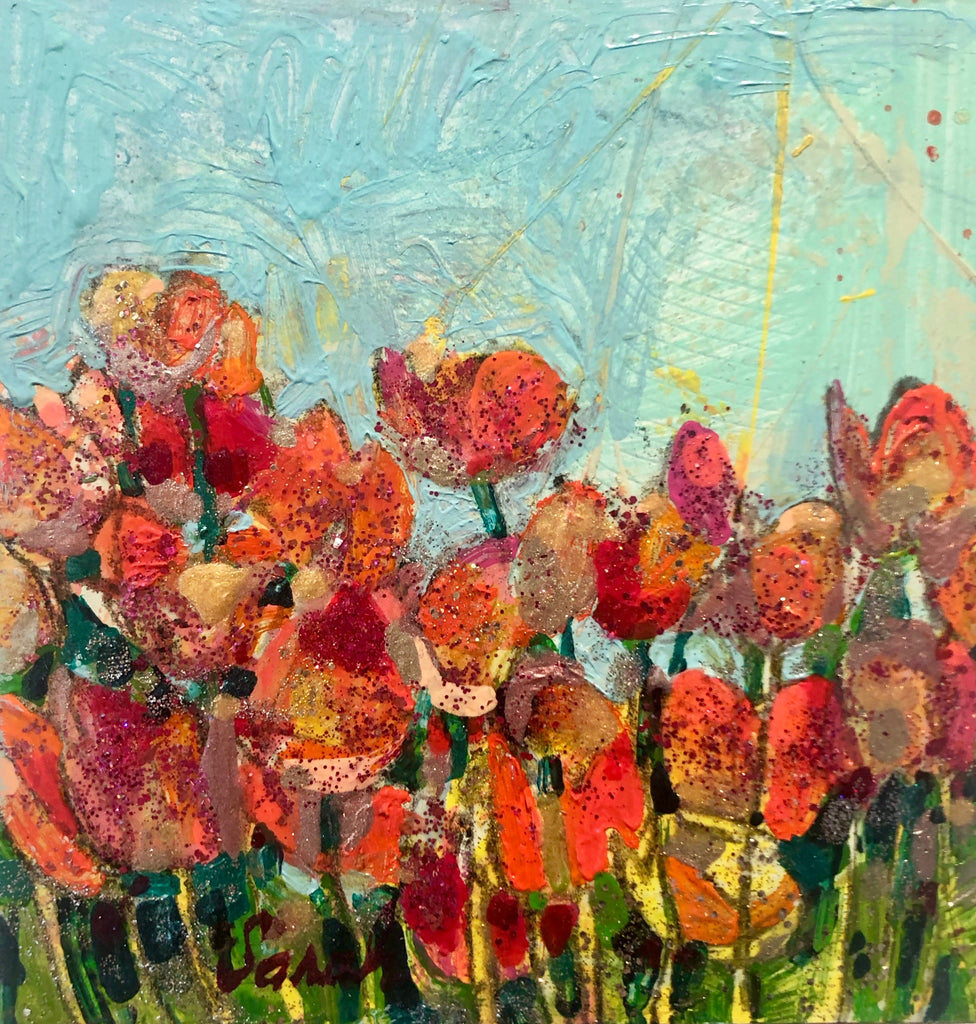 Tulips with a turquoise sky