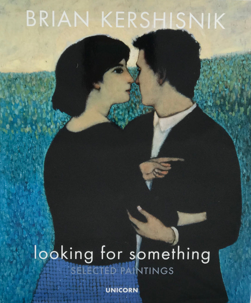 A painting by Brian Kershisnik. A couple with dark hair against a landscape of blues and green and beige sky both looking the opposite way. He is in a black jacket and white shirt and she a black top and blue skirt.