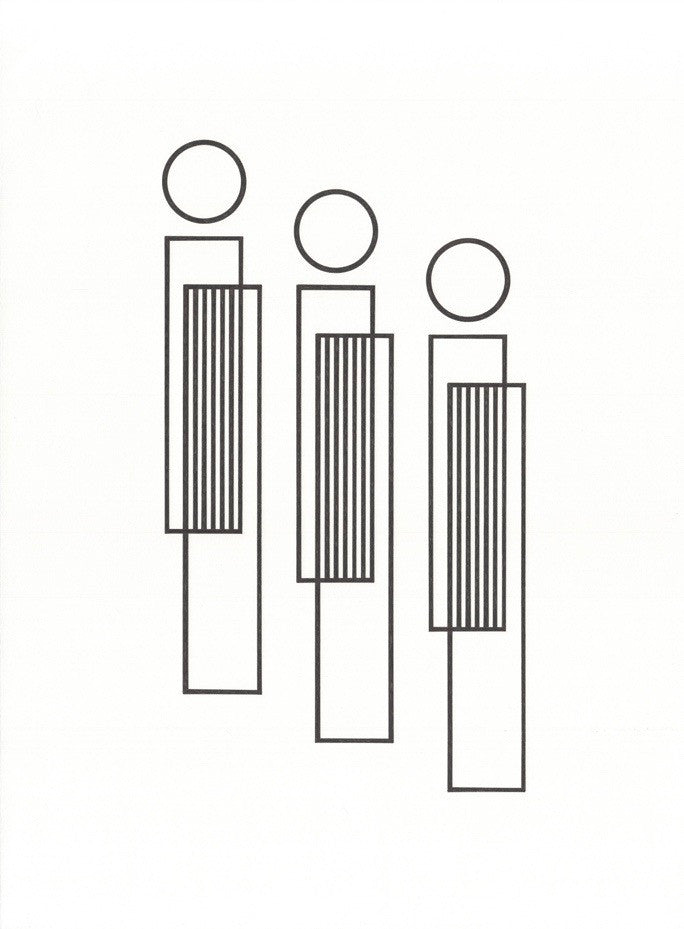 Black ink on a white background, three figures composed of rectangles and circles.