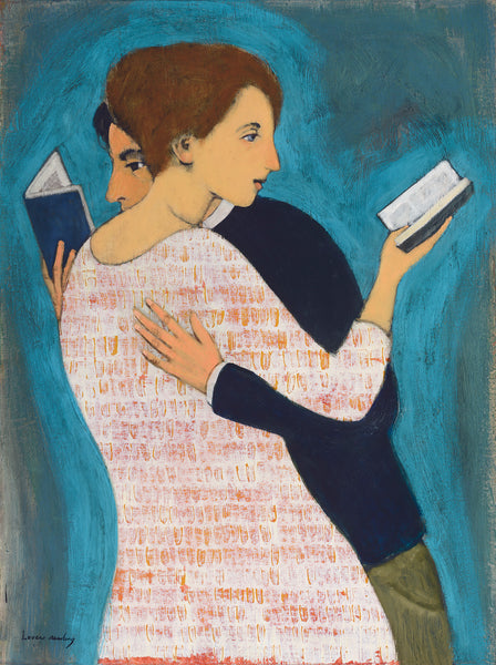 A couple embraces while each holding a book and reading it with one hand against a turquoise and grey background. She with her brown hair pulled back in a bun is wearing a white dress with small orange tile prints and he with his dark hair and a dark sweater and army green slacks.