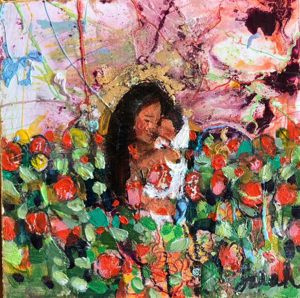 A mother with black hear holding a baby in white in a field of red and yellow tulips with a colorful sky of blues, purples, yellow and greens.
