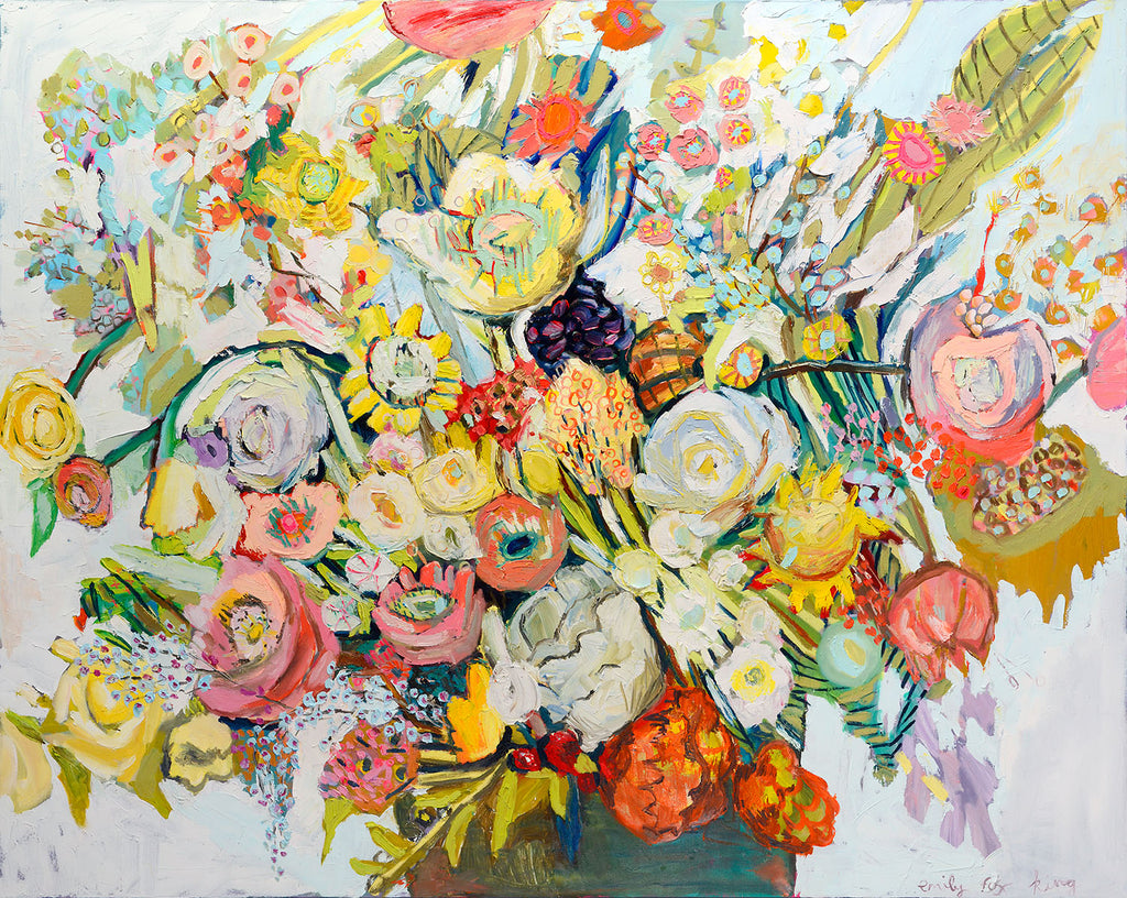 Floral arrangement with a myriad of colors ranging from shades of burnt oranges, shades of pinks, golds, yellows and turquoise in a brown vase against a light background by Emily Fox King.