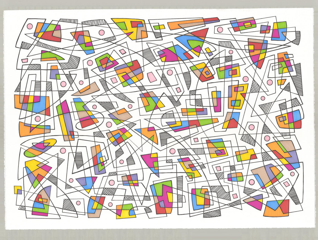 Pen and ink geometric with grey, yellow, green orange, red and blue shapes and black lines.