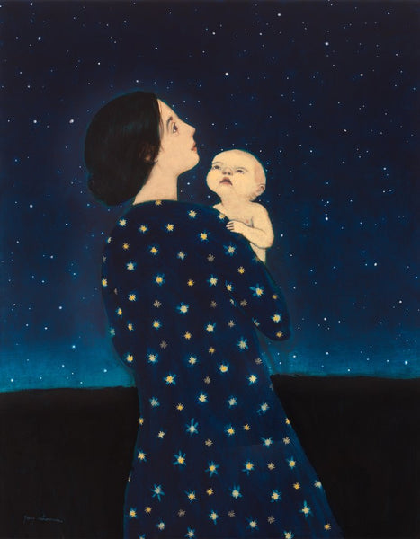 Young Astronomer giclee by contemporary artist Brian Kershisnik. A young mother in a blue dress with stars on it holds her baby and both gaze up into the heavens on a dark night.