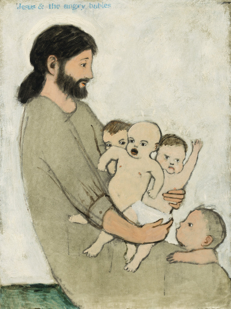 Brian Kershisnik paints Jesus and the Angry Babies limited edition giclee. Jesus holds 3 unhappy babies on his lap with another toddler looking up.