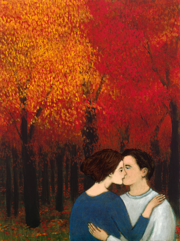 Giclee print of an original oil painting Lovers in the Fall by contemporary artist Brian Kershisnik. A couple kissing against the lush fall back drop of rich red orange and yellow leaves