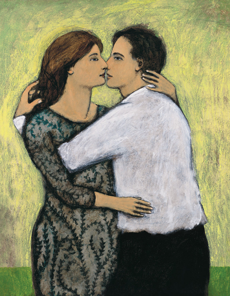 Giclee print of an original oil painting Lovers by contemporary figurative artist Brian Kershisnik. A dark haired man in a white shirt and black pants embraces a brunette woman in a green dress with black vines against a yellow and green background.