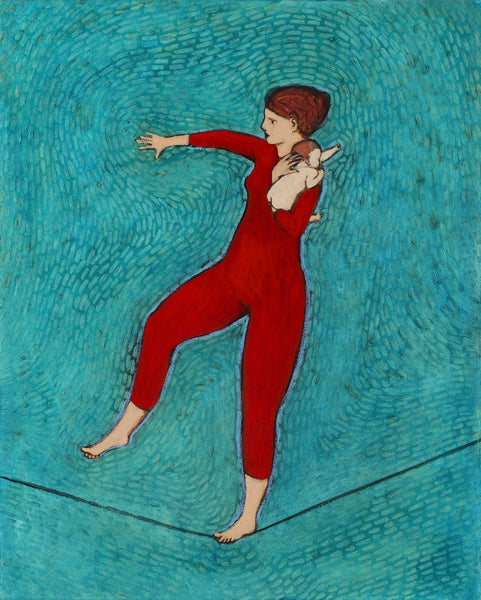 Giclee print of an original oil painting Mom Trick by contemporary artist Brian Kershisnik.A red headed mother in a red leotard and tight holding tight her red headed baby she is balancing as walks on a tightrope against a turquoise backdrop.