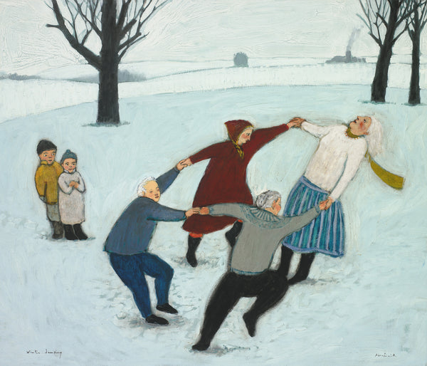 Giclee pigment print of an original oil painting Winter Dancing by contemporary artist Brian Kershisnik.Four bundled for the cold people hold hands and dance gleefully on the snow while two small children watch. Turquoise, red, black and gray clothing against a turquoise snowscape with black barren trees.