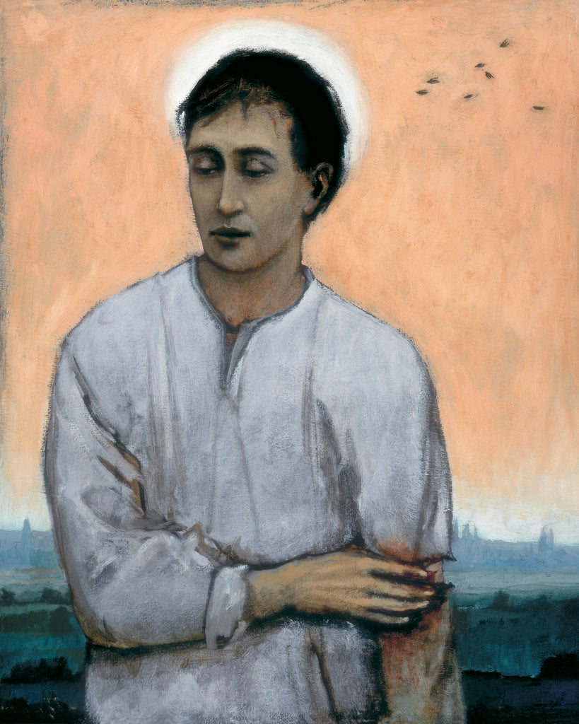 Giclee print of an original oil painting Wounded Saint by contemporary artist Brian Kershisnik. A dark haired young man with halo holds his wounded bloodied arm. He is in a white shirt with a background of an orange sky with black birds and a landscape of mountains and green land.