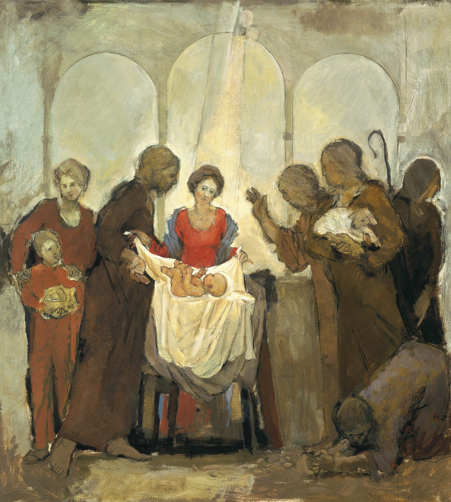 Nativity giclee print by contemporary artist Bruce Hixon Smith. Mary dressed in blue and red robes with the light on her and the baby Jesus surrounded by shepherds and others who look on in awe set agains three arches.