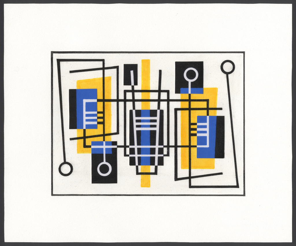 Hand drawn ink and paper collage with squares, circles, yellow, blues and blacks.