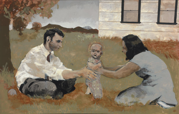 A young couple helps their little one take its first steps as they sit and kneel on the grass.