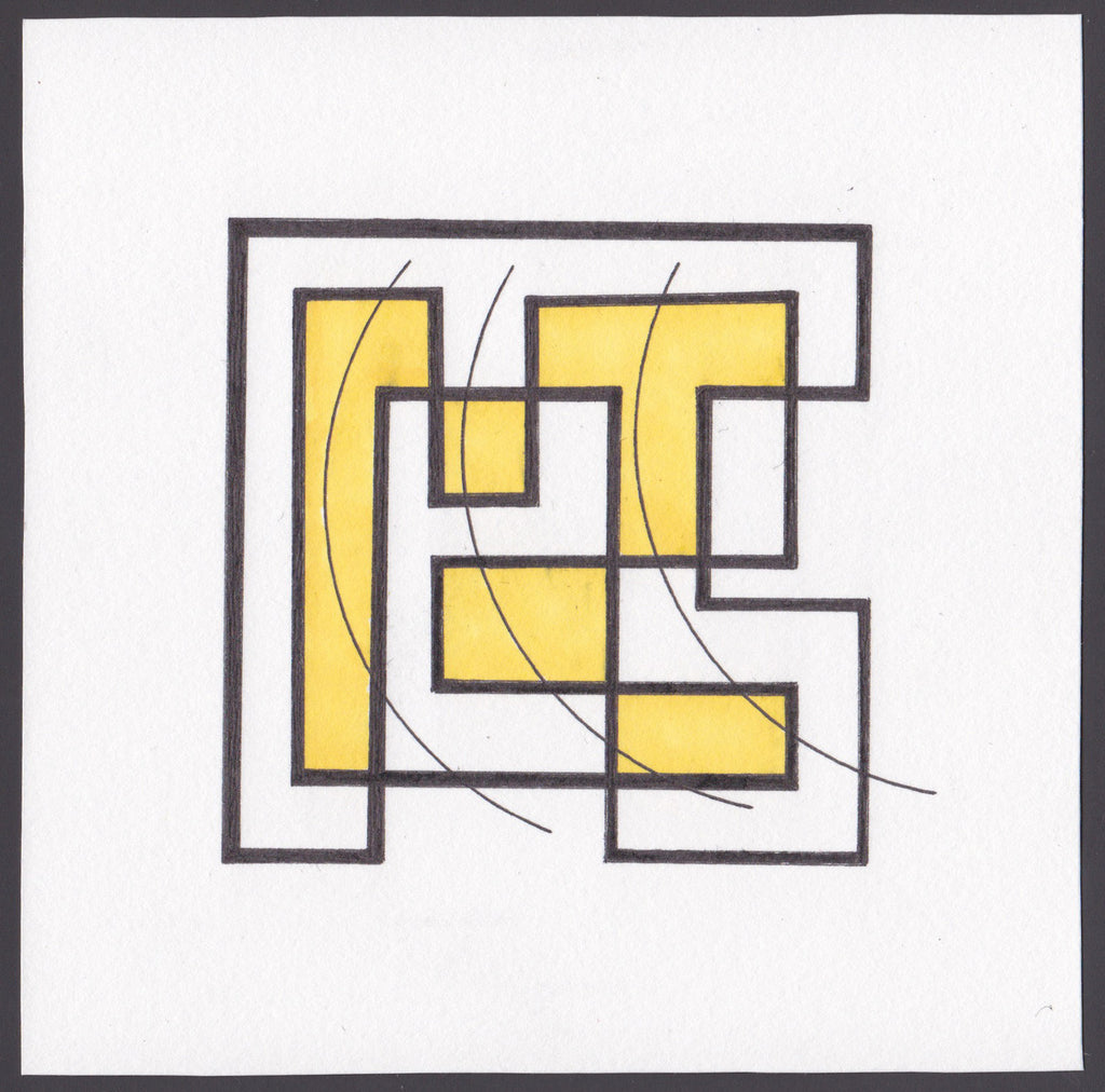 Original pen and ink drawing of geometric figures of black, and yellow on white.