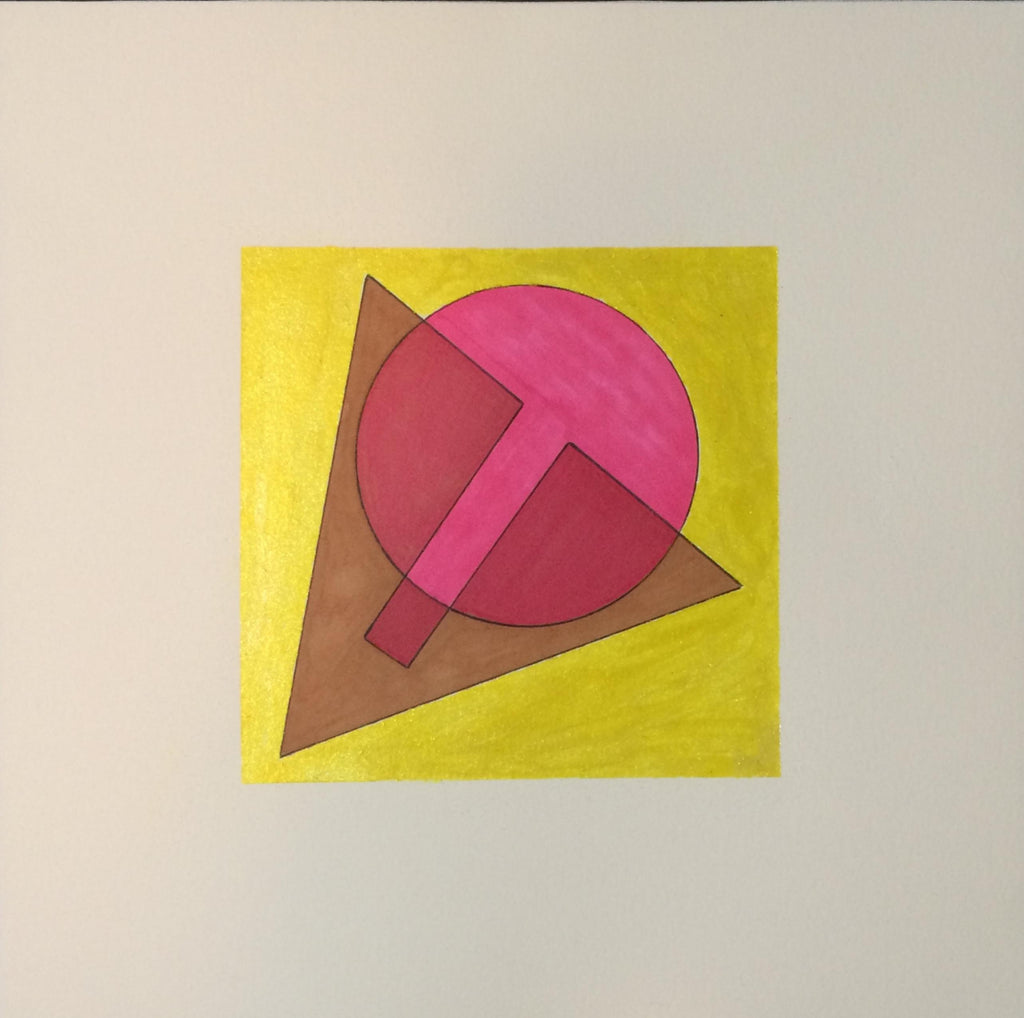 Yellow square with dark triangle and hot pink ball.