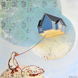 A blue house with a black roof floating like a kite with a string that is held by a duck against an aqua blue fabric patterned background.
