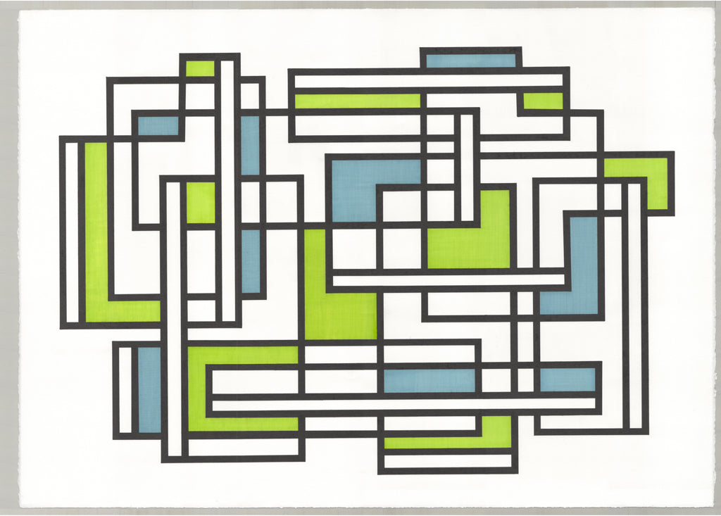 Pen and ink abstract geometric in blue, green and black.