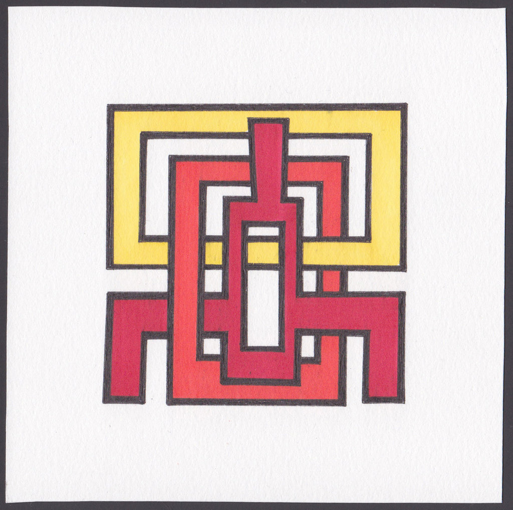 Original pen and ink drawing of geometric figures of black, red, and yellow on white.