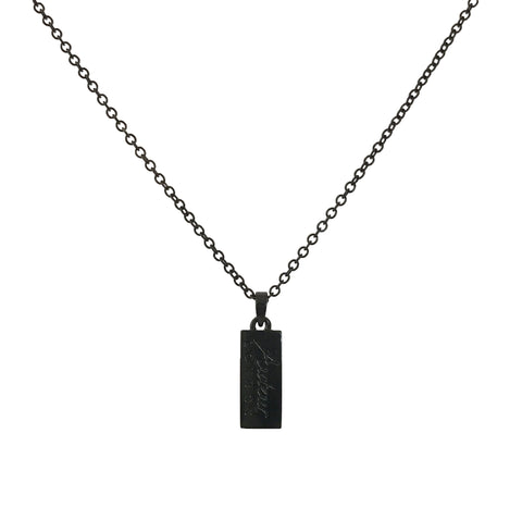 Black Logo Tag Necklace