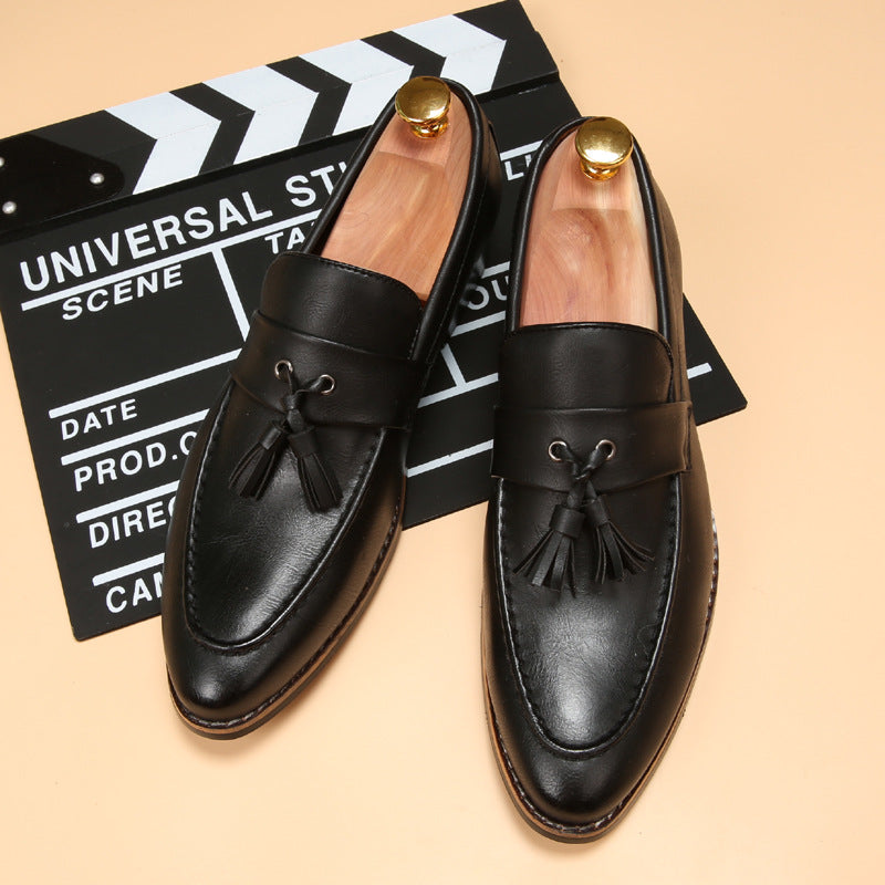small black Tassel sharp barber shoes