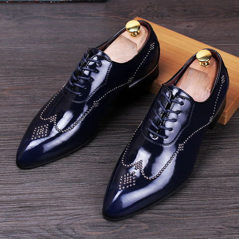 pointed shoes Korean men's casual shoes in the UK increased groom wedding shoes rivet nightclub