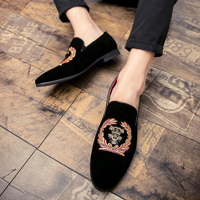 embroidery men's single shoes