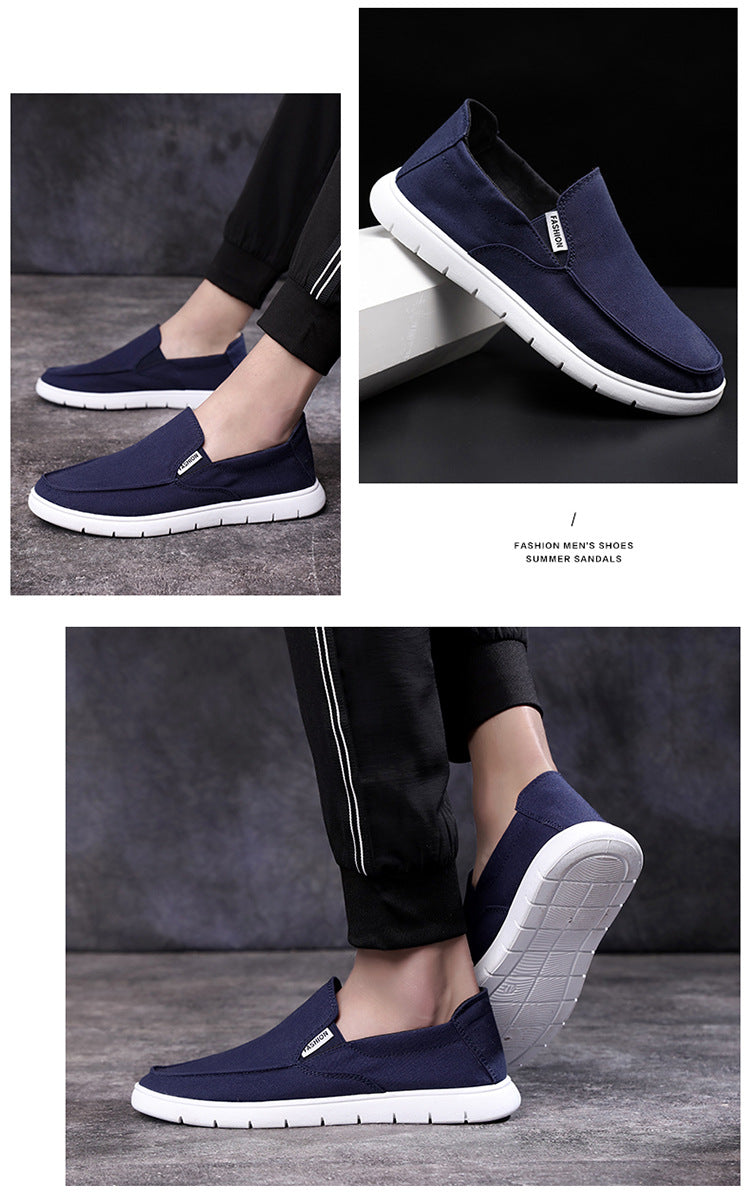 Explosive 2019 new men's shoes a pedal old Beijing cloth shoes lazy set of feet canvas shoes breathable shoes wholesale
