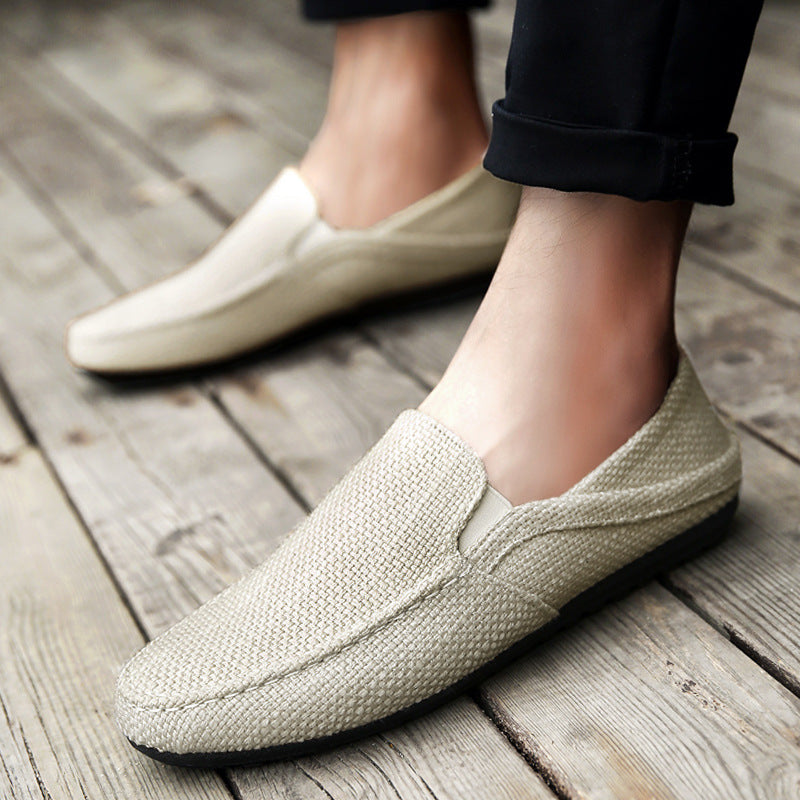 Summer men's shoes peas shoes British trend men's casual shoes a pedal lazy tide shoes breathable linen shoes