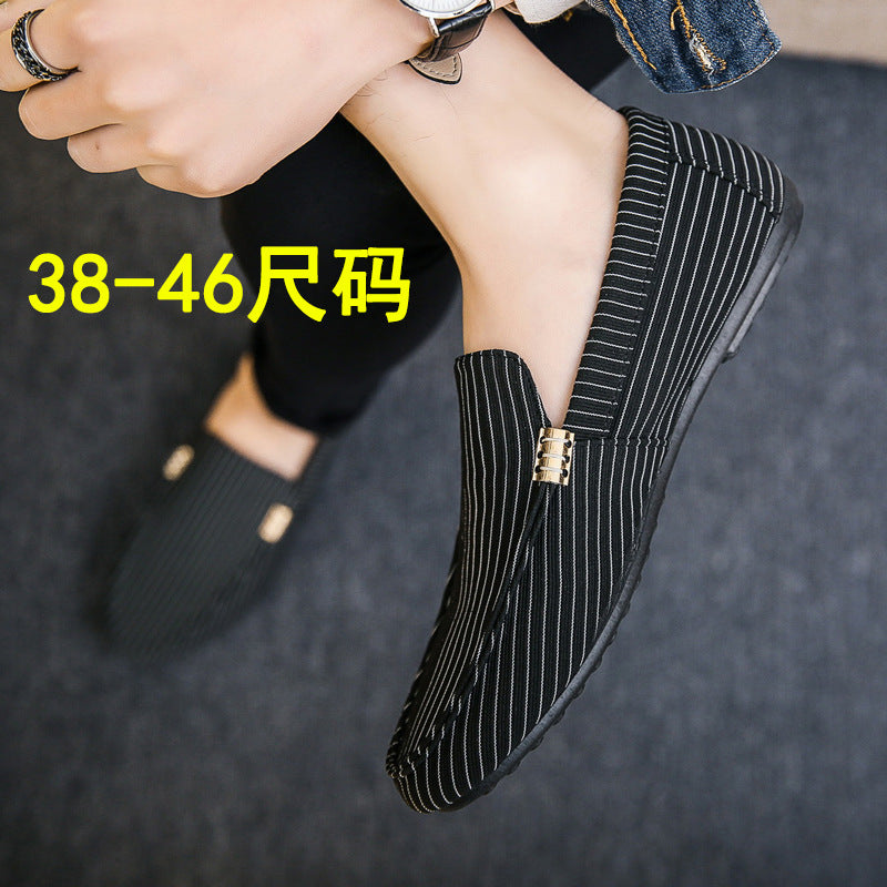18 spring new men's shoes social guy casual shoes lazy tide shoes set foot peas shoes men's stripes