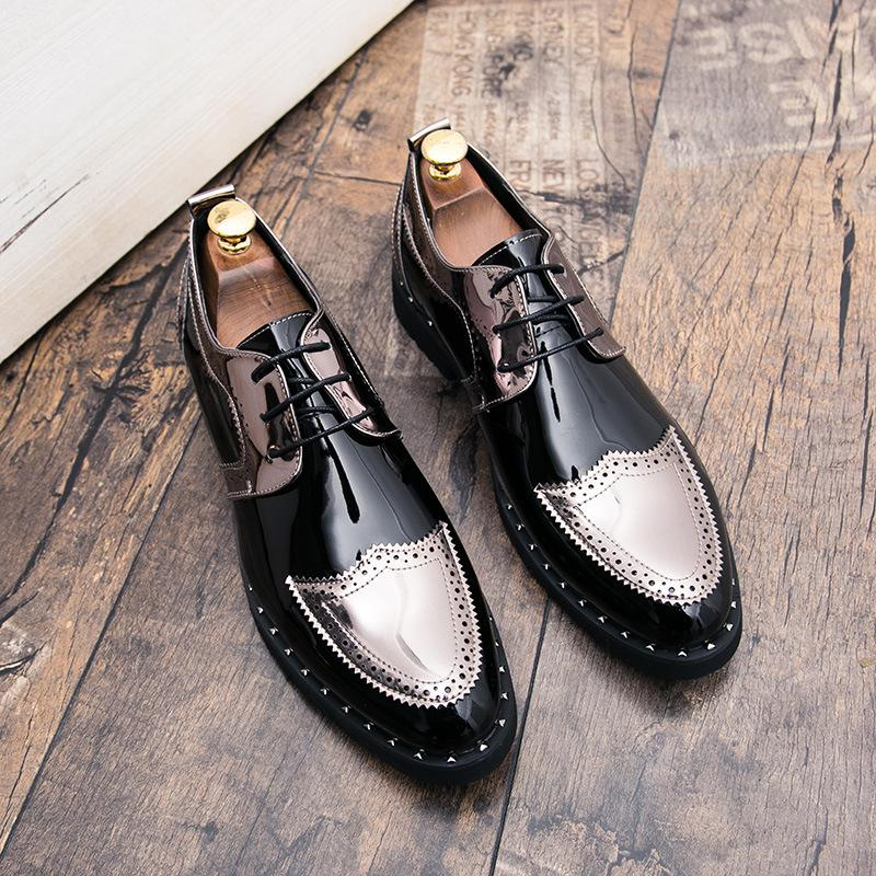British men's pointed casual leather shoes painted men's shoes muffins increase nightclub mirror large size leather shoes