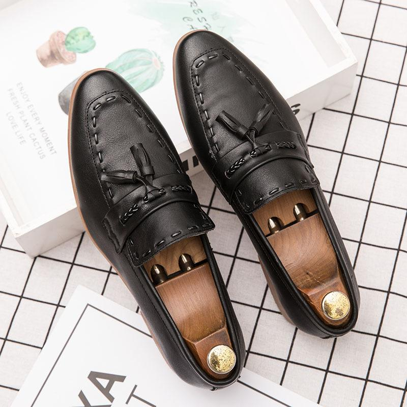 Autumn leather shoes men's business hundred Korean version of the elevated men's leather shoes British one foot trend hairstylist leather shoes men