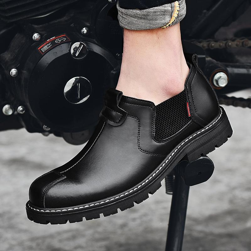 19 spring and autumn trend Korean leather shoes slothful one foot work clothes shoes antiskid big head men's casual leather shoes