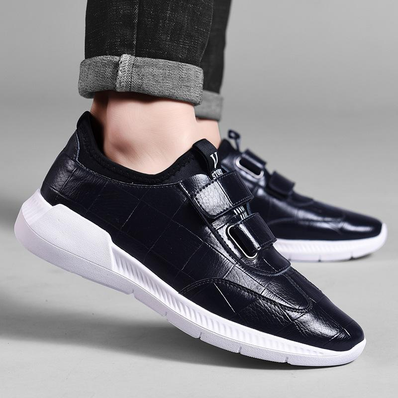 19 autumn new leather waterproof leather shoes Korean version of Joker English wind hook and loop sneakers shoes