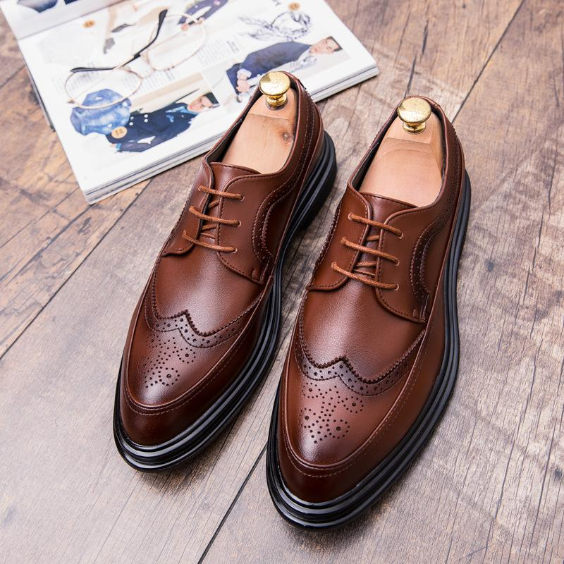 19 autumn men's British style Korean version men's business dress casual lace up trendy shoes and all kinds of Brock men's shoes