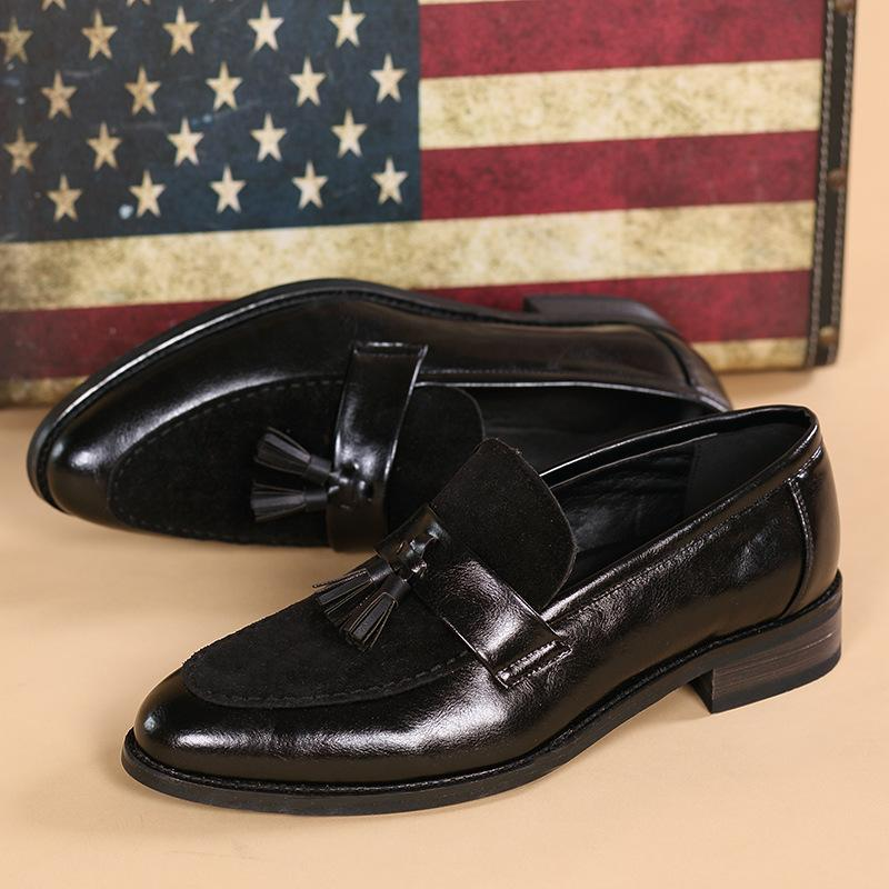 Retro British style single shoes men's shoes casual shoes block set toe pointed shoes men's shoes