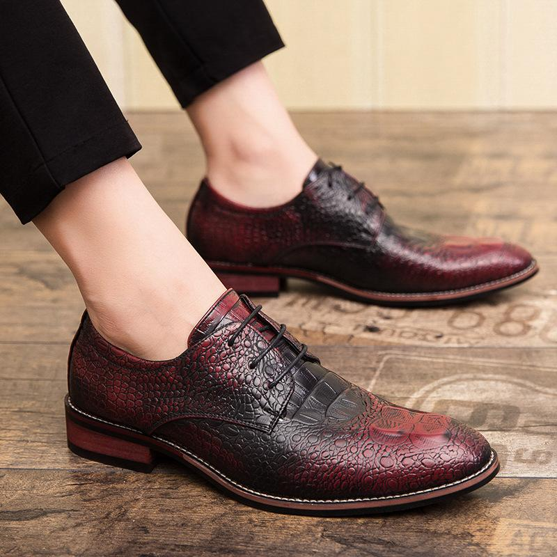 Large crocodile leather shoes, one step hairdresser, Korean men's shoes, British casual formal business shoes