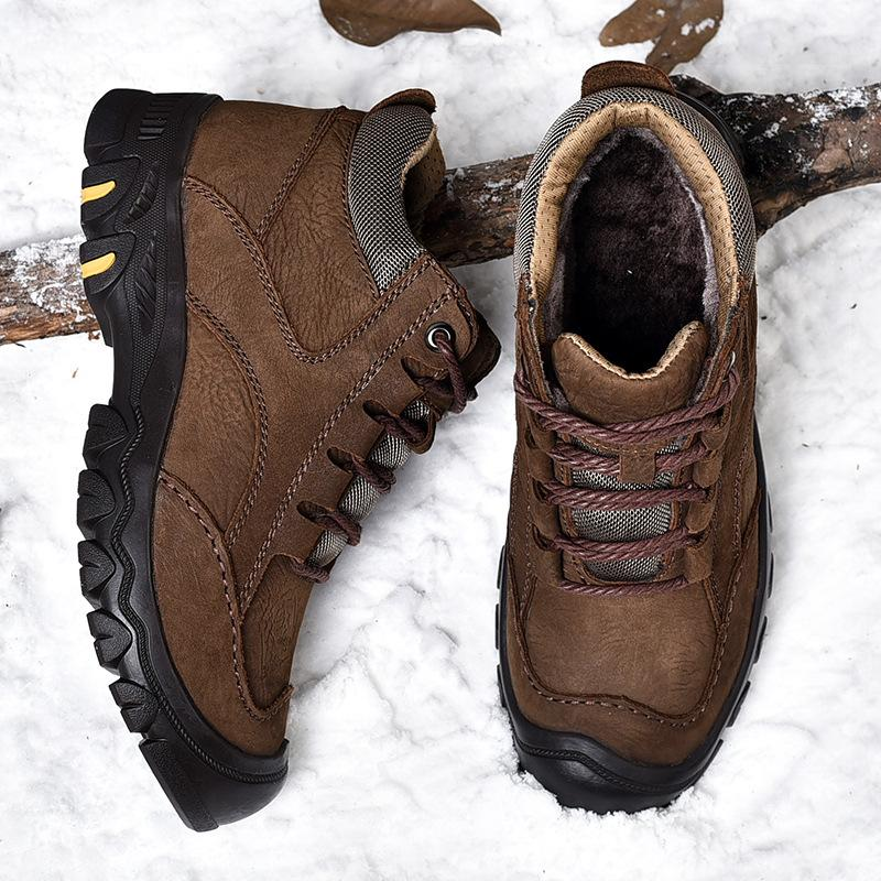 Large size outdoor climbing shoes men's leather winter plus velvet warm cotton shoes men waterproof snow boots