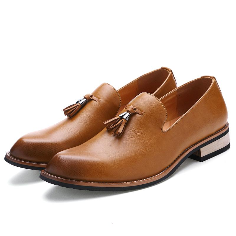 New Korean version increases men's shoes, pointed men's trendy hairstyles, leather shoes, men's tassel casual shoes.