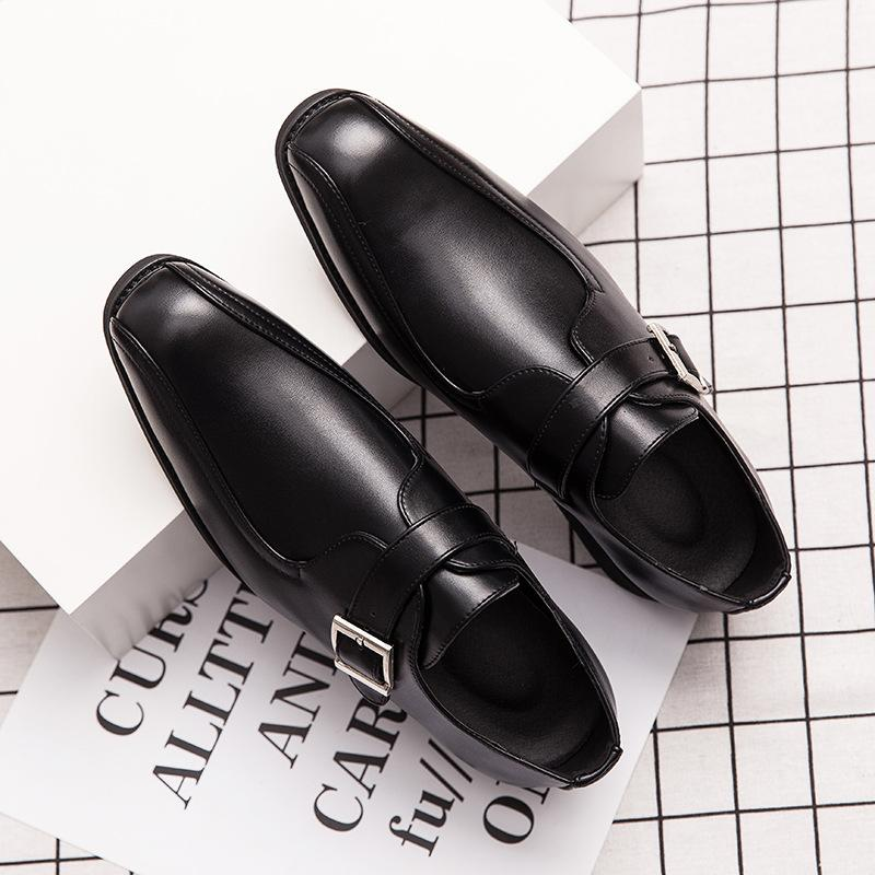 Cross-border large size men's leather shoes men's business is dressed wedding groom nightclub English trend button shoes