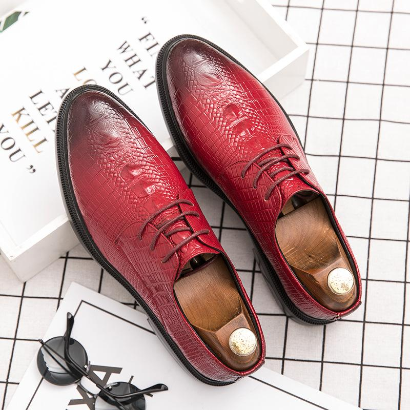 British business dress small leather shoes men's casual Korean men's shoes crocodile pattern pointed toe men's shoes