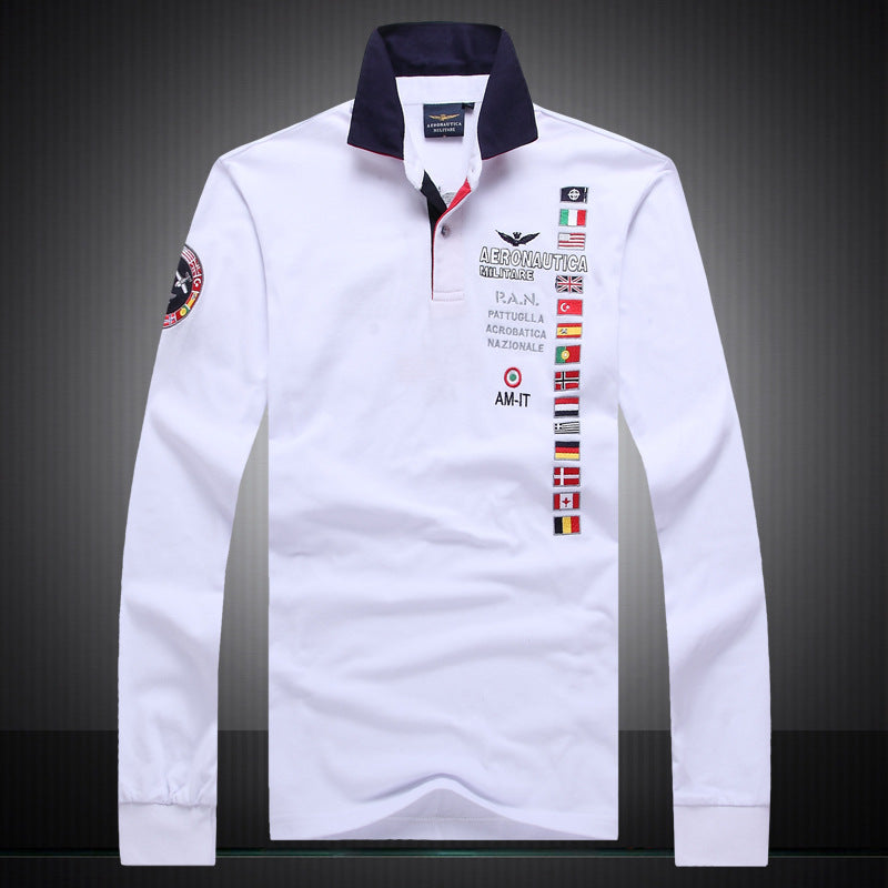 long sleeve T-shirt men's pure color men's polo shirt