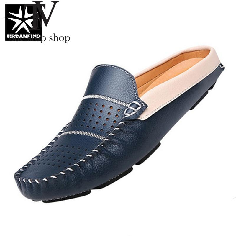 Man Leather Flats British Half Slipper Loafers EU 38-44 Summer Men Driving Shoes Black / Dark Blue / White