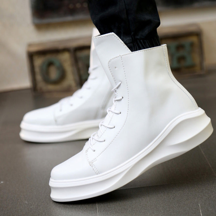 British casual white  men's platform shoes