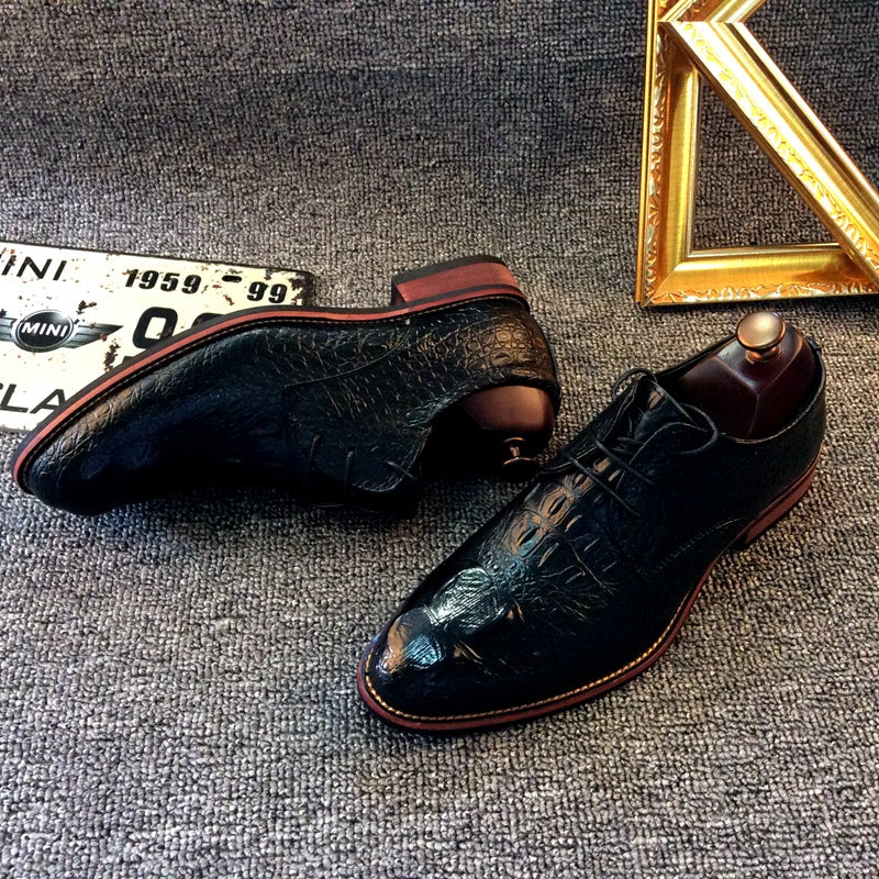 men's shoes fashion crocodile pattern dress shoes instead of hair