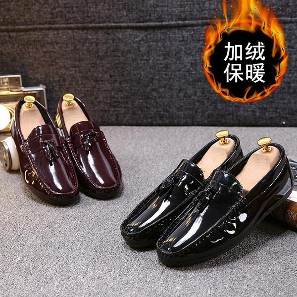 2019 winter new Korean version of peas shoes men plus velvet low to help casual men's shoes men's cotton shoes a pedal lazy shoes