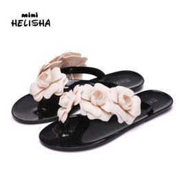Summer Jell-O Shoes Three-dimensional Camellia Slipper Female