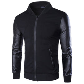 men's vertical collar jacket leather sleeve splice short cardigan
