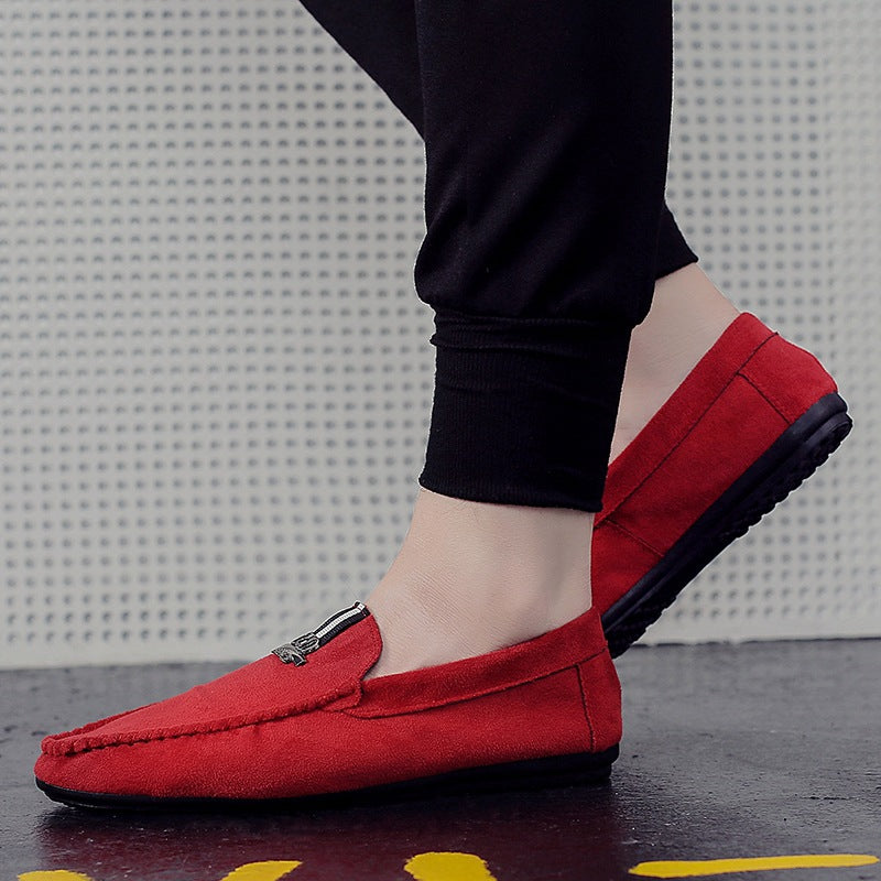 Men's shoes lightweight flat suede men's peas shoes youth solid color sets of feet men's shoes round head autumn low shoes tide boy